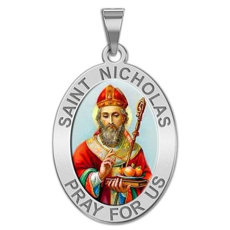 Saint Nicholas OVAL Religious Medal Color - 2/3 X 3/4 Inch Size of Nickel, Sterling Silver ()