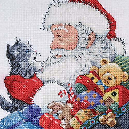 "Santa & Kitten Counted Cross Stitch Kit, 13"" x 13"", 14-count"