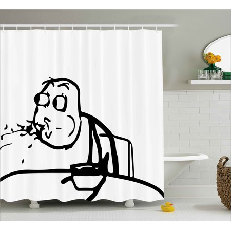 Humor Shower Curtain Weird Guy Meme Face Character Barfing Food Scene Troll Web Comics Illustration
