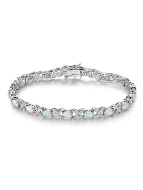 0096d9a59 Product Image White Rhodium Plated Fire Opal Tennis Bracelet