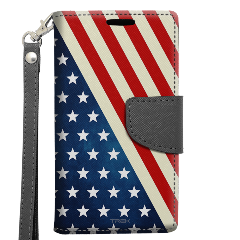 Alcatel OneTouch Elevate Wallet Case - Slanted American Flag