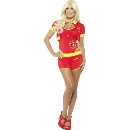 Womens Classic Baywatch Lifeguard High Rise Swimsuit Costume (Lifeguard Costume Women)