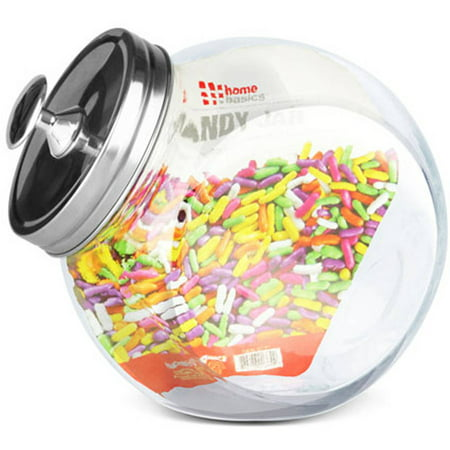 Home Basics Glass Candy Jar (Small Glass Cookie Jars With Lids)