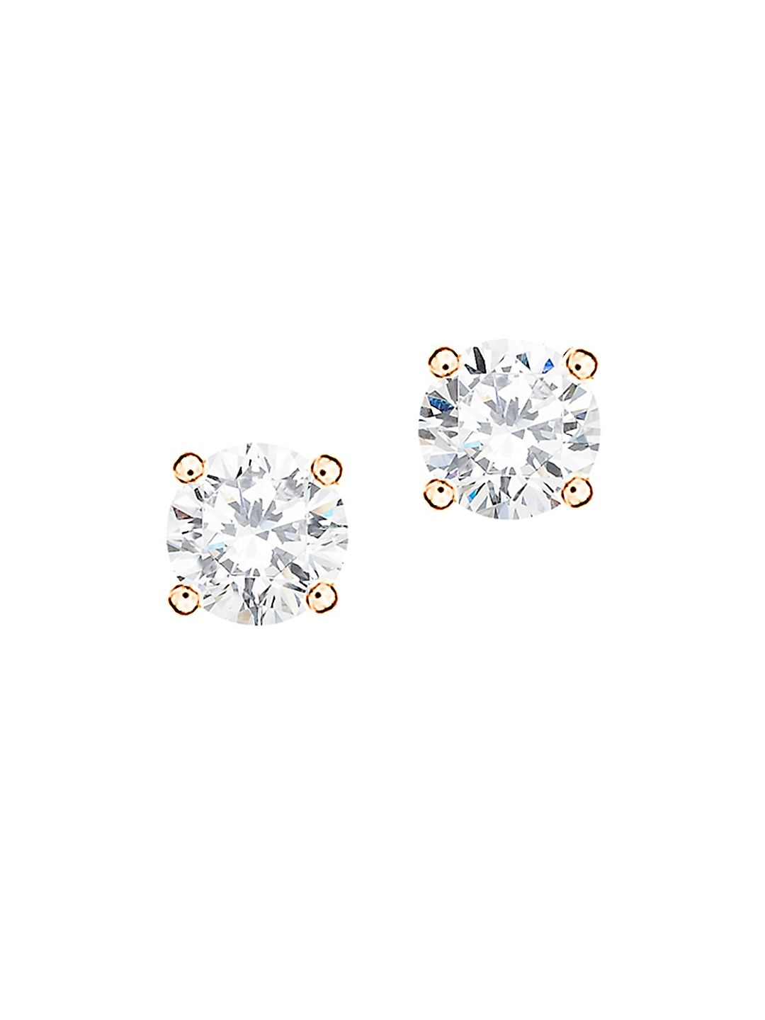 18K Rose Gold Plated Classic Brilliant Studs