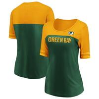Women's Fanatics Branded Green/Gold Green Bay Packers Record Holder Half-Sleeve T-Shirt