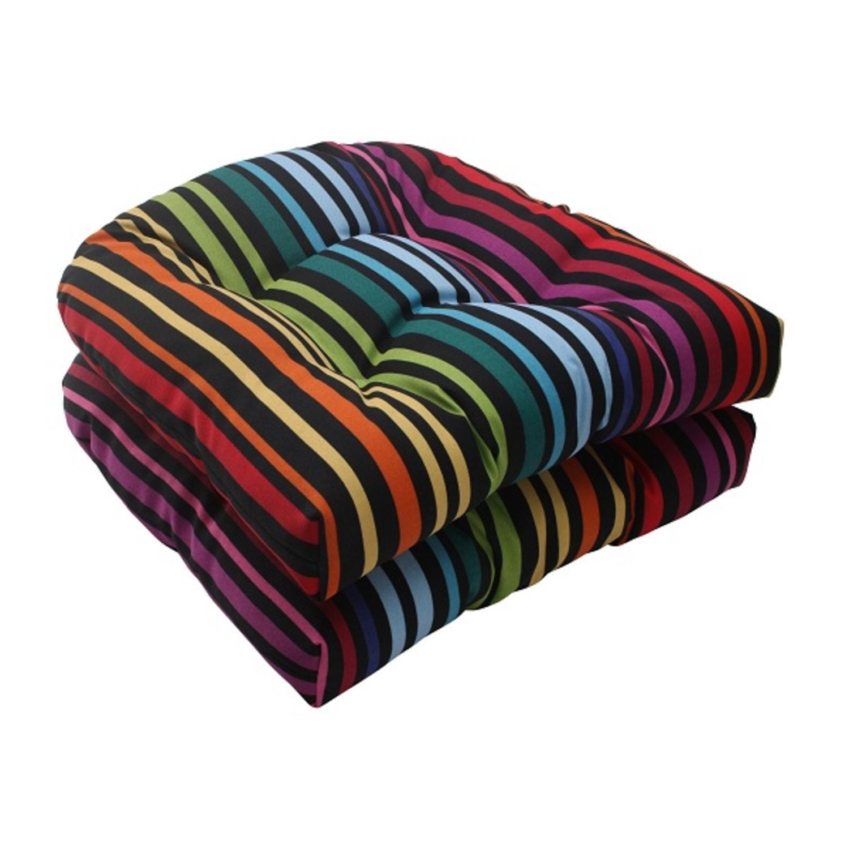 "Set of 2 Retro Stripe Summer Outdoor Patio Wicker Seat Cushions 19"""