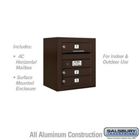 Salsbury 3805S-03ZFU 21 - 0.125 in. 5 Door High Unit Single Column 3 MB1 Doors Front Loading Surface Mounted 4C Horizontal Mailbox Unit, Bronze - USPS Access