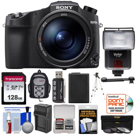 Sony Cyber-Shot DSC-RX10 IV 4K Wi-Fi Digital Camera with 128GB Card + Battery + Charger + Backpack + 3 UV/CPL/ND8 Filters + Tripod + Flash +