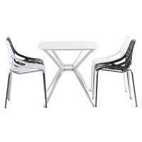 """CLEARANCE! Plastic Stackable Patio Chairs Sets of 4, 21.3"""" x 21.3"""" x 33.5"""" Lounge Patio Guest Chairs w/Sturdy Steel Legs, Mid-Century Style Side Chairs for Restaurants, Pubs, Cafes, White, S13175"""