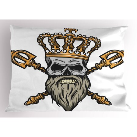King Pillow Sham Ruler Skull Head with Gray Beard Crossed Royal Scepter Cartoon Seemed Image, Decorative Standard Queen Size Printed Pillowcase, 30 X 20 Inches, Golden and Pale Grey, by Ambesonne - Kings Septor
