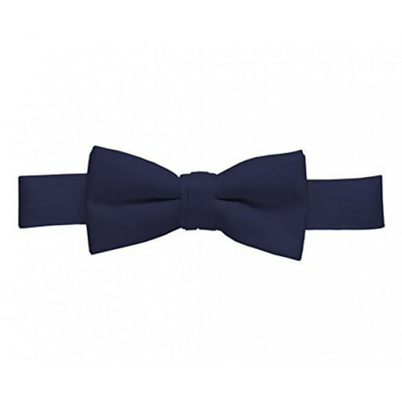 - Bow Tie For Mens Boys and Baby Satin look Solid Color Adjustable Pre-tied Made in USA - Kids Navy Blue