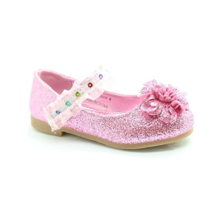 Little Girls Pink Glitter Lace Sequin Trim Flower Dress Shoes