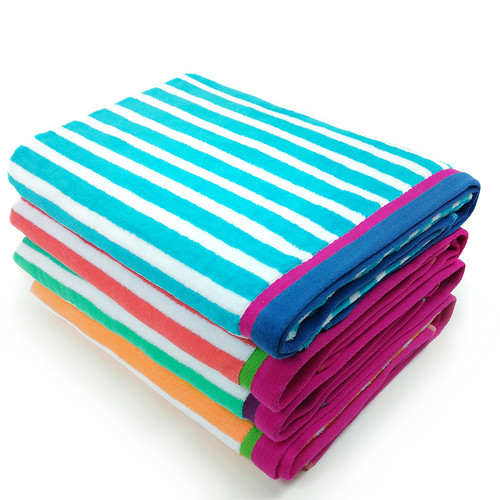 Kaufman Sales Racing Stripe Velour Beach Towel (Set of 4)