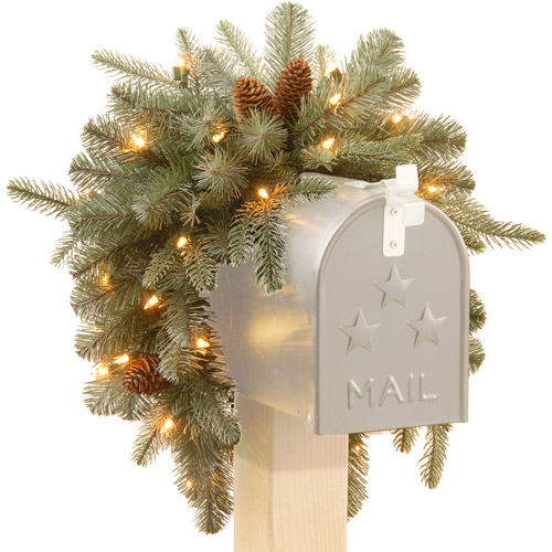 "National Tree 3' ""Feel Real"" Frosted Arctic Spruce Mailbox Swag with Cones and 35 Warm White Battery Operated LED Lights with Timer"