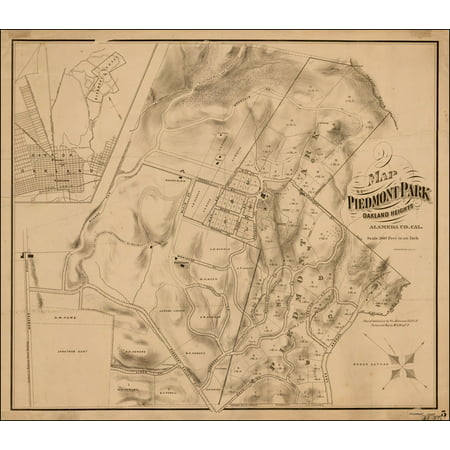 LAMINATED POSTER Map of Piedmont Park Oakland Heights Alameda Co. Cal. POSTER PRINT 24 x (Oakland Mall Map)
