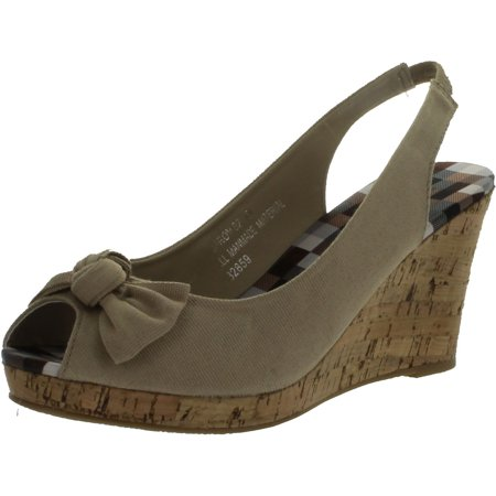 Bamboo Women's Wedge Sandals with Faux Cork Sole and Bow