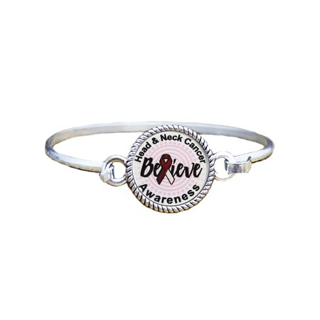 Head And Neck Cancer Awareness Believe Silver Plated Bracelet Jewelry for $<!---->
