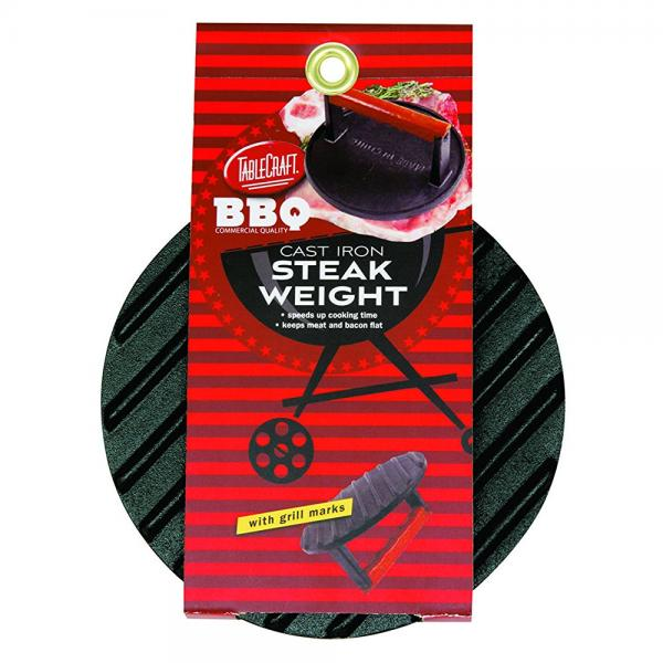 TKleCraft BBQ3015 BBQ Coated Cast Iron 7-Inch Round Steak Weight with Wood Handle, Small, Black
