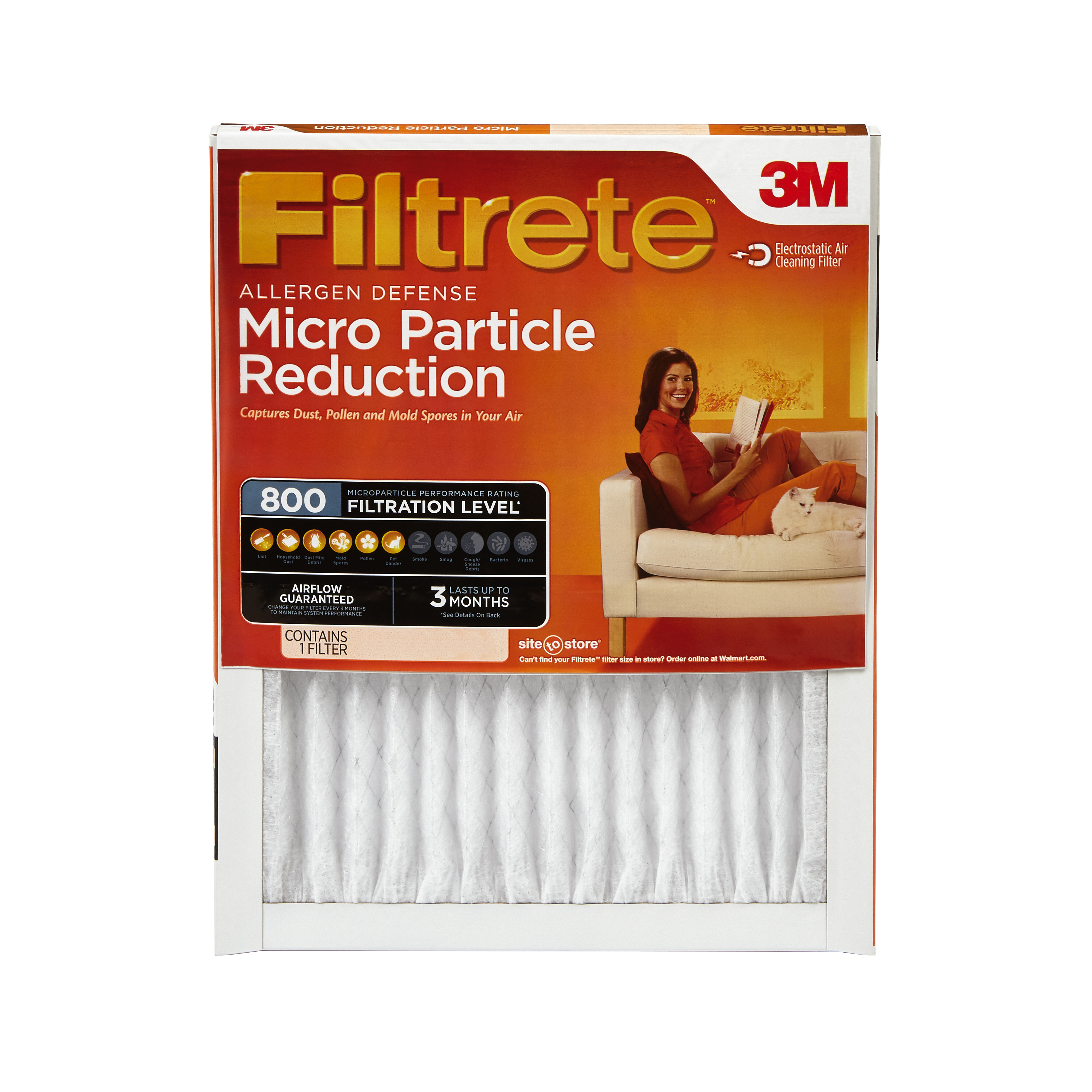 Filtrete Allergen Defense Micro Particle Reduction HVAC Furnace Air Filter, 800 MPR, 16 x 24 x 1 inch, 1 Filter