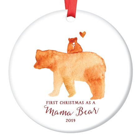 Mama Bear Ornament 2018, First Christmas as a Mommy, New Mother Porcelain Ceramic Ornament, 3
