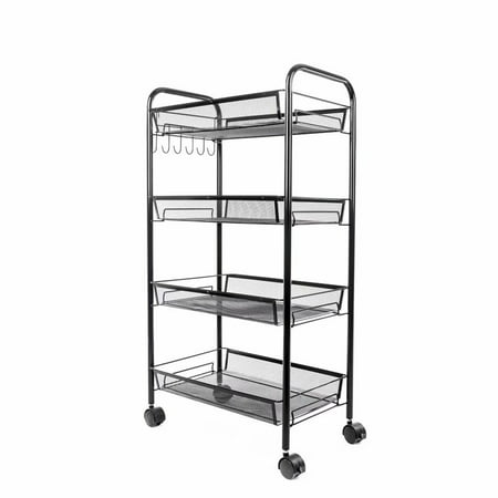 "4-Tier Rolling Basket Stand, Full Metal Rolling Trolley for Kitchen & Bathroom - Four Tier Storage Cart w/Shelves & Wheels - 33"" X 17.25"" – Black"