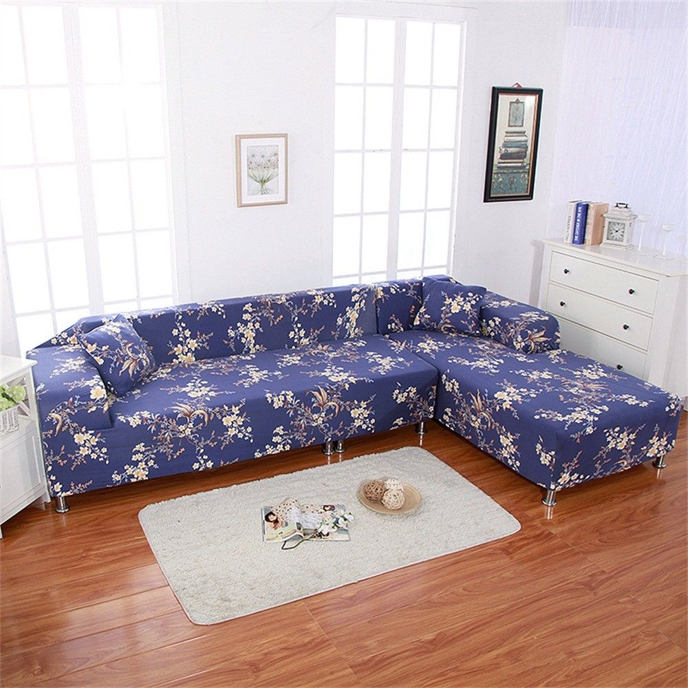 Stretch Sofa Covers For L Shape 2pcs Polyester Fabric Slipcovers