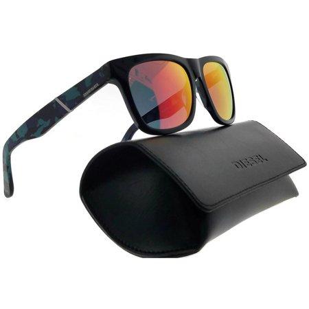 Diesel DL0116-92L-54 Square Unisex Blue Frame Yellow Lens Genuine Sunglasses