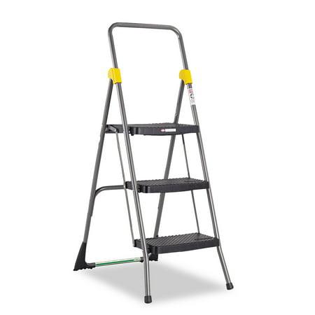 Cosco Commercial 3 Step Folding Stool 300lb Cap 20 1 2w x 32 5 8d x 52 1 8h Gray