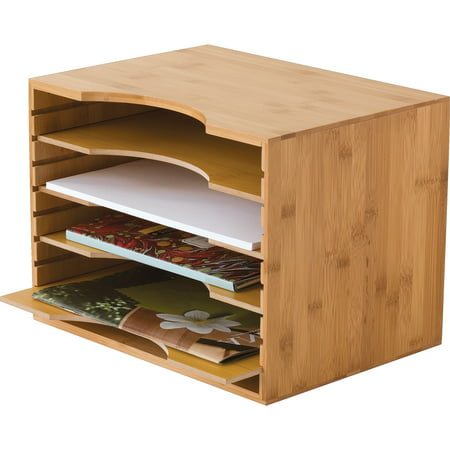 Lipper International Bamboo File Organizer with 4 Dividers