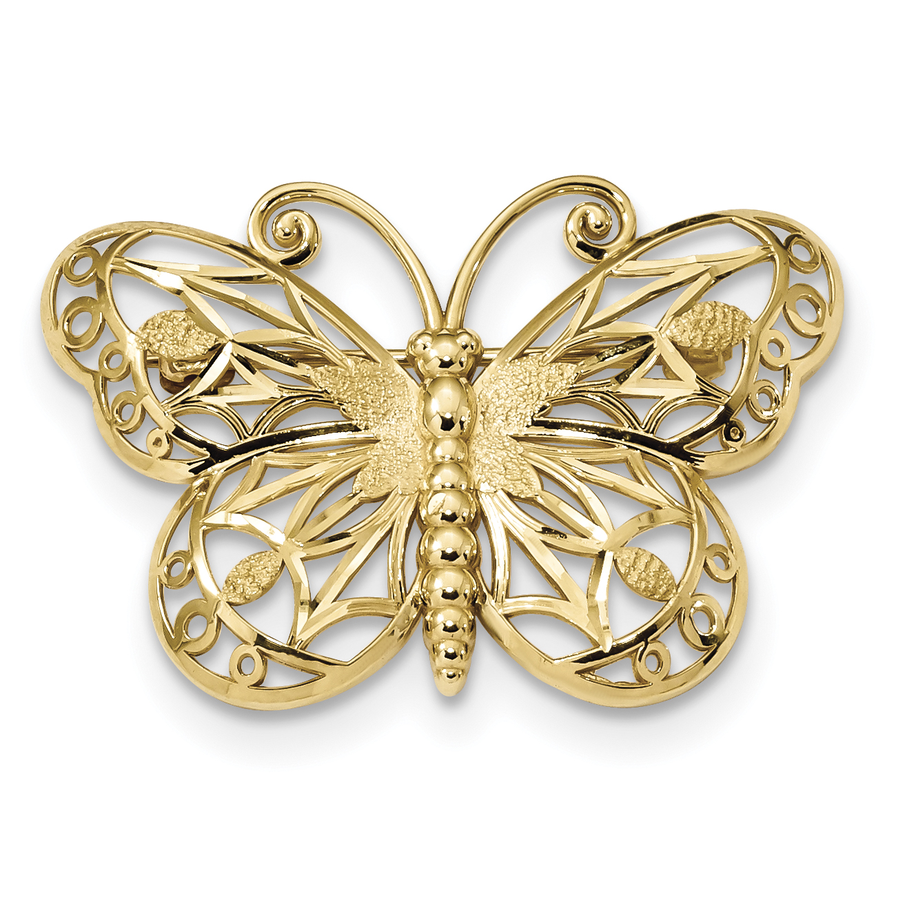 14K Diamond Cut Polished & Satin Butterfly Pin by Saris and Things QG