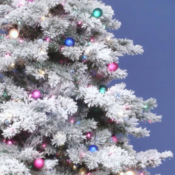 Vickerman Flocked Alaskan 6.5' White Artificial Christmas Tree with 600 Multicolored  Lights with Stand - Walmart.com - Vickerman Flocked Alaskan 6.5' White Artificial Christmas Tree With