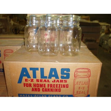 - Hazel Atlas Ez Seal Antique / Collectible Quart Sized Jars - Sealed Original Factory Carton (New Old Stock) 12 Pieces From Approx 1954-64 Vintage - Great Looking Decorative Jars