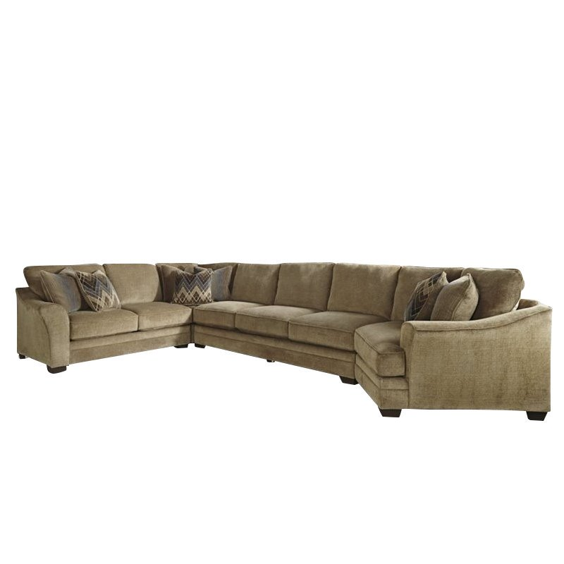 Ashley Lonsdale 4 Piece Right Cuddler Sofa Sectional in Barley  sc 1 st  Walmart : sofa with cuddler sectional - Sectionals, Sofas & Couches