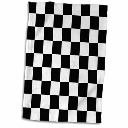 3dRose Check black and white pattern - checkered checked squares chess checkerboard or racing car race flag - Towel, 15 by 22-inch](Checkered Flag Decorations)