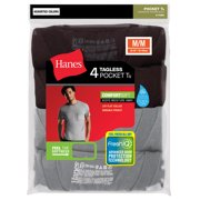 Hanes Big Men's FreshIQ Tagless ComfortSoft Dyed Pocket Tee 4-Pack