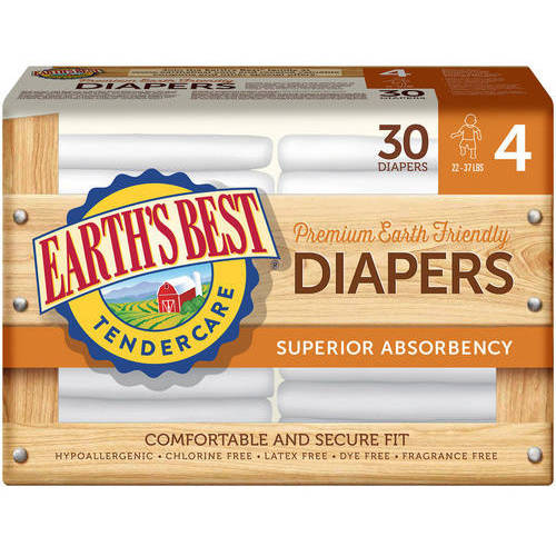 Earth's Best - TenderCare Chlorine-Free Diapers, Size 4, 30 count