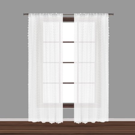 Bathroom and More Collection Set of Two (2) SHEER Window Curtain Panels: White 3-D Small Soft Tufts Design. 84in Long Each ()