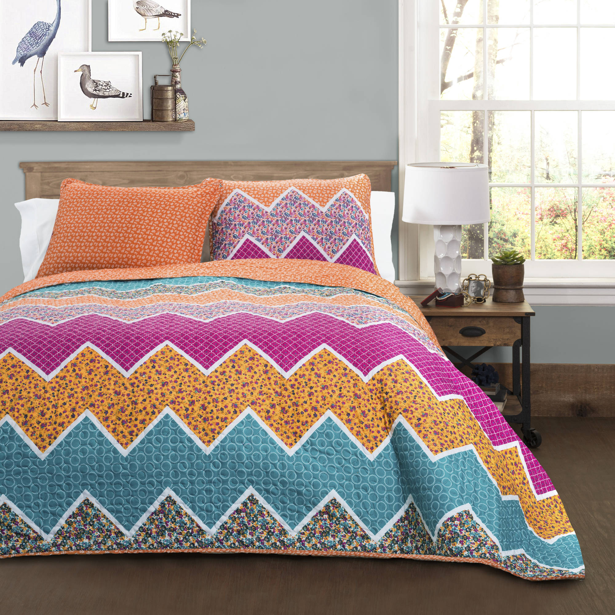 Everlyn Chevron Quilts Set, Tangerine