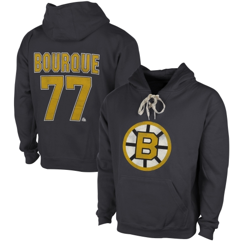 Ray Bourque Boston Bruins Old Time Hockey Malcolm Skate Lace Alumni Hoodie Heather Gray by Old Time Hockey