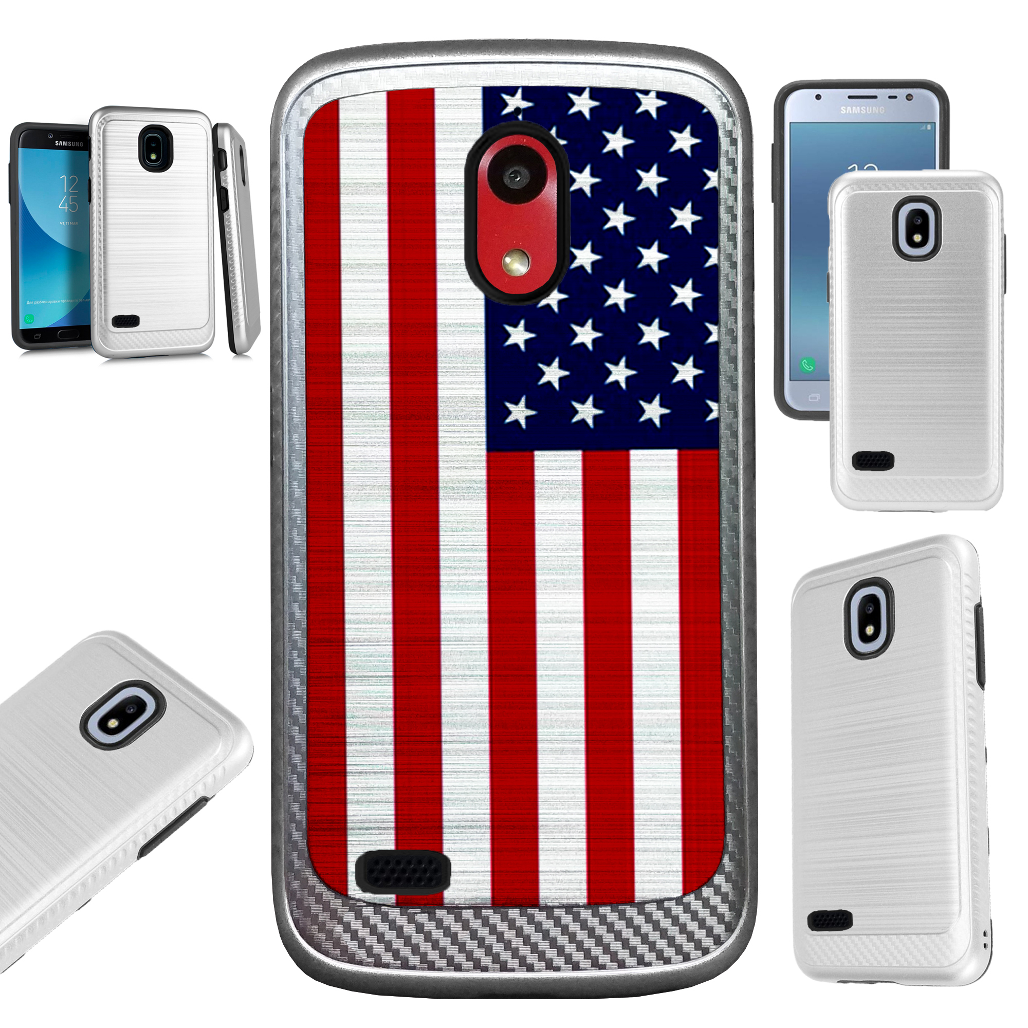 For AT&T Axia (2018) Case Brushed Metal Texture Hybrid TPU Artillery Phone Cover (American US Flag)