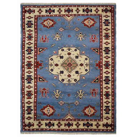 Silk Wool Linen (Rugsotic Carpets Hand Knotted Afghan Woolen with Silk 9' x 12' Kazak Area Rug Blue White AF0108-Color:Blue White,Material:Wool And Silk,Shape:Rectangle,Size:8' x 10' )