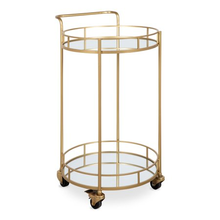 Kate and Laurel Deveaux 2 Shelf Modern-Glam Round Metal and Mirror Rolling Multi-Purpose Serving Bar Kitchen Tray Cart, Gold ()