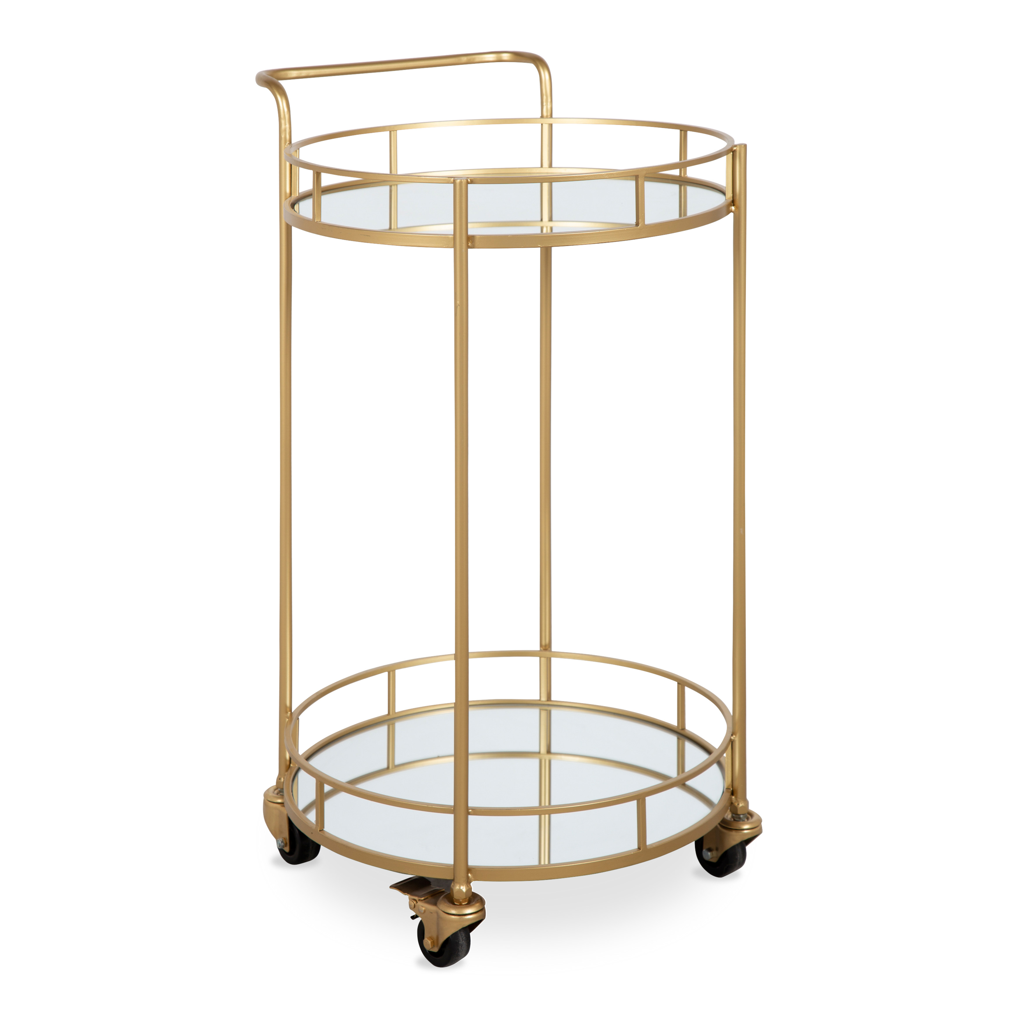 Kate and Laurel Deveaux 2 Shelf Modern-Glam Round Metal and Mirror Rolling Multi-Purpose Serving Bar Kitchen Tray Cart, Gold