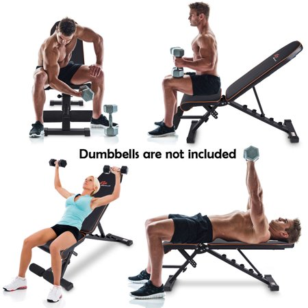 Foldable Weight Bench Adjustable Back Dumbbell Bench Full