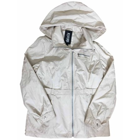 Details Womens Tan Lightweight Removable Hood Windbreaker Jacket Trench Coat