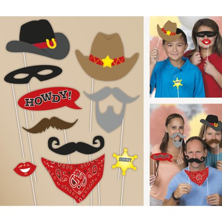 Western Photo Booth Props, 10pc - Western Photo Booth