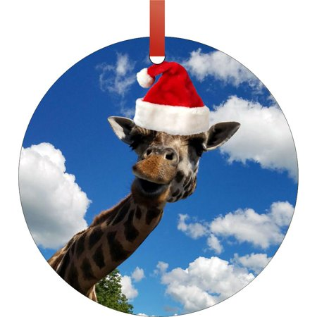 Giraffe in the Sky a Santa Claus Hat Double Sided Round Shaped Flat Aluminum Glossy Christmas Ornament Tree Decoration - Walmart.com