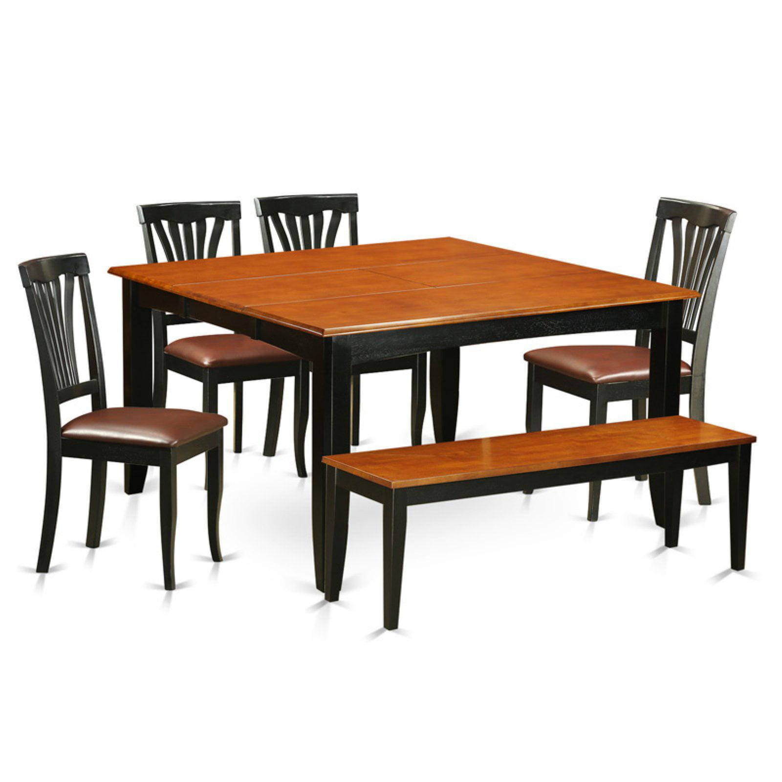 East West Furniture Parfait 6 Piece Lath Back Dining Table Set