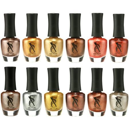 SXC Cosmetics Nail Polish Set - 12 Gold Metallic Shades, 15ml/0.5oz Full Size, Perfect Nail Lacquer Gift Set Regular Use & Nail Art Design - Easy Halloween Nail Designs
