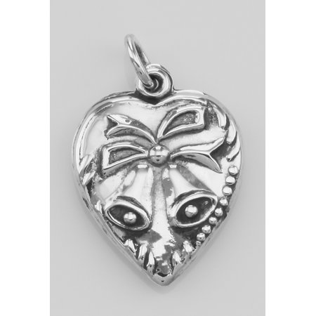 Heart Pendant Charm with Bells - Sterling Silver Heart Silver Bell
